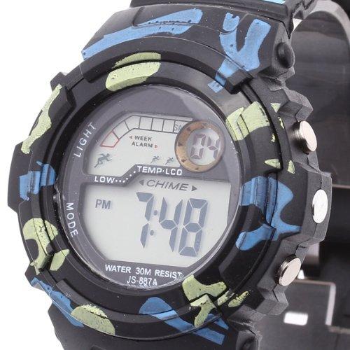 Gleader Para Hombre Reloj Digital LED, Despertador Fecha Cronometraggio Antiacqua Camuflaje, Color Negro: Amazon.es: Relojes