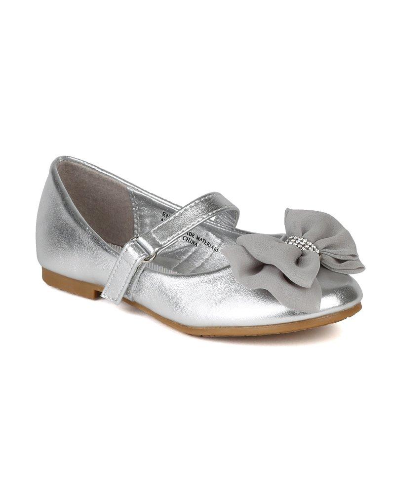 Leatherette Fabric Bow Decor Ballerina Ballet Flat (Toddler/Little Girl/Big Girl) AH64 - Silver (Size: Big Kid 3)