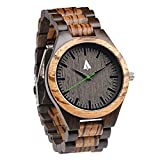 Treehut Men's Zebrawood and Ebony Wooden Watch with All Wood Strap...