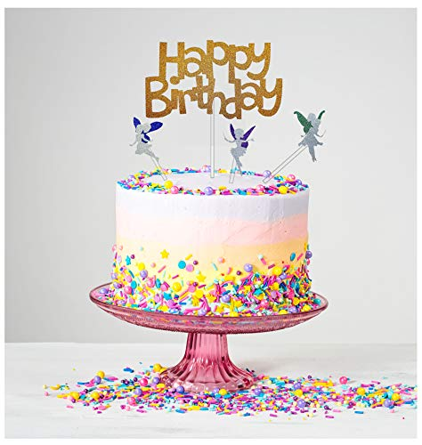 Happy Birthday Cake Topper - Premium Gold Glitter - with 3 Glitter Tinker bells, Party Cake Decoration, Party Supply with Premium Glitters and Acrylic Stick ()