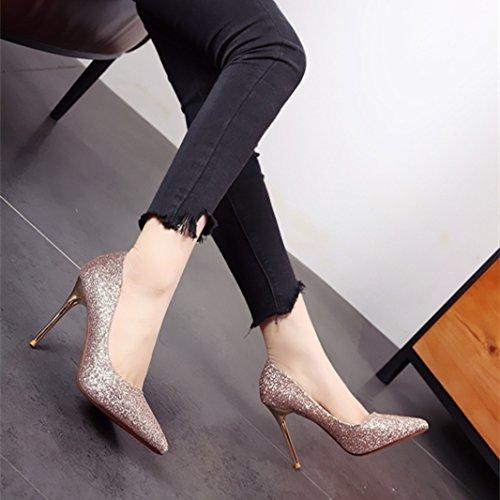 b Europeo zapatos tacones zapatos parte zapatos FLYRCX Verano de estilo delgados solo tacón Primavera superficialmente alto PqZxZwazp