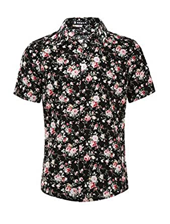 Allegra K Men Short Sleeve Button Front Floral Print