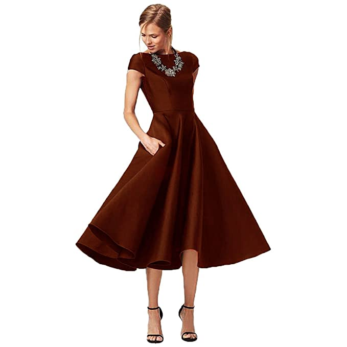 Fashionbride Women s Formal Evening Gown Satin Short Sleeve Tea-Length  Mother of The Bride Dress 90c822ee8e