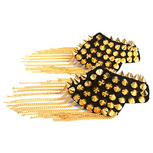 1 Paire Epaulette a Glands Badge Cloute Punk Rock d'Or