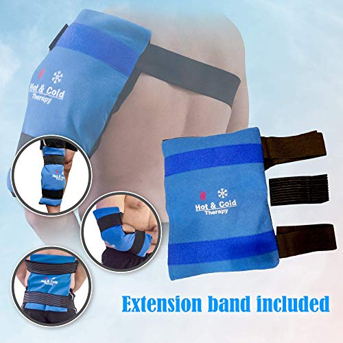 Ice Pack for Injuries - Reusable, Flexible Gel Ice Pack for Injuries and Pain Relief with Wrap and Straps by BravoBrand - Hot & Cold Therapy for Arthritis, Hip, Shoulder, Back, Knee, XL 14 X 11