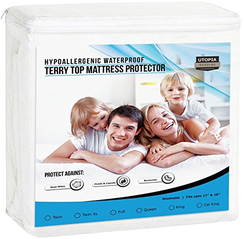 Utopia Bedding Premium Hypoallergenic Waterproof Mattress Protector - Vinyl Free - Breathable Fitted Mattress Cover (Twin)