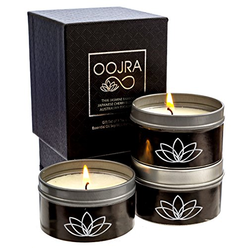 OOJRA Essential Oil Scented Soy Wax Luxury Travel Candle Gift Set of 3 with Gift Box - Thai Jasmine Bamboo, Australian Eucalyptus, Japanese Cherry Blossom
