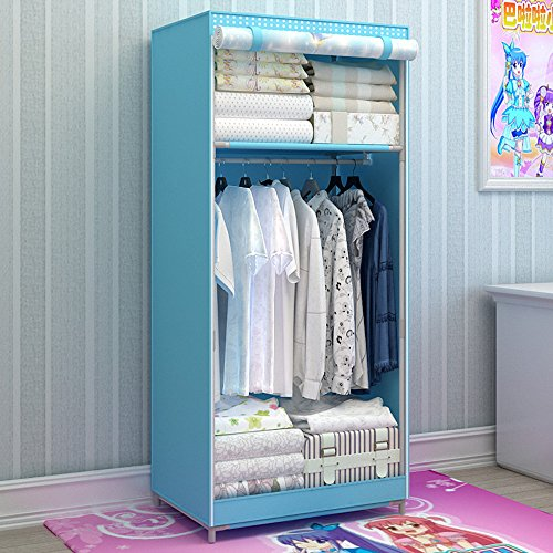 Generic Brand New Single Portable Dustproof Wardrobe Cartoon Closet for Kids Bedroom Furniture Bold Armoire with Fully-enclosed Cover (Wardrobe Single Armoire)