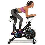 ANCHEER Indoor Cycling Bike with 49LBS Flywheel, Quiet Smooth Belt Drive Exercise Bike with Adjustable Seat & Handlebars & Base