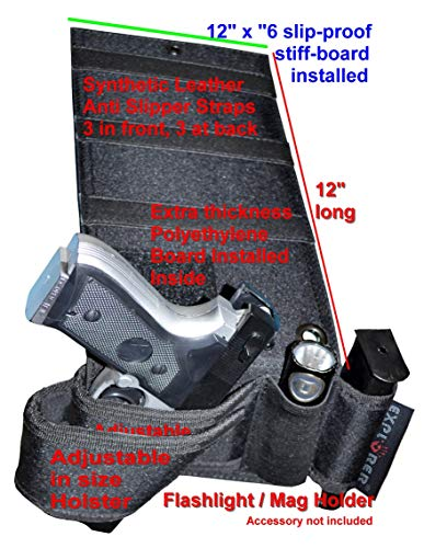 Explorer Adjustable in Size Mattress Bed Handgun Holster for Under Vehicle Seat, Office Seat Concealed Handgun Holster with Tactical Flashlight Loop (Beige Bed Holster H21)