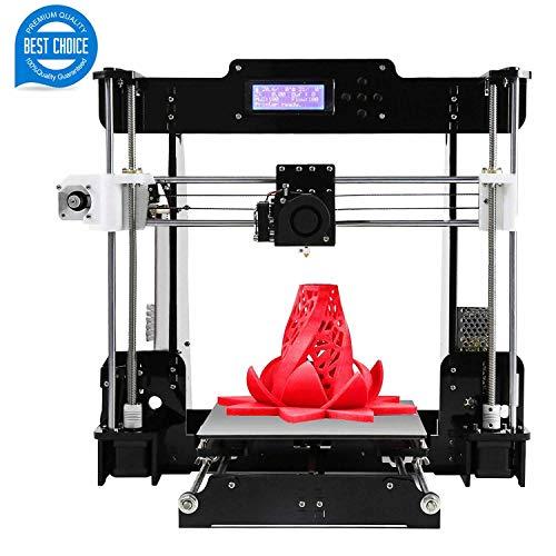 3D Printer Y5 Large Size Desktop 3D Printer Kit Prusa I3 Upgrade Acrylic Sheet DIY Self-Assembled PLA/ABS Filament 1.75MM DIY 3D Printer Kit(220x220x240mm)