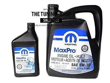 Original Mopar Gasolina Aceite de motor sae 5 W-30 MaxPro 5L + 0.946l para Chrysler: Amazon.es: Coche y moto
