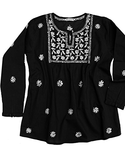 Ayurvastram Pure Cotton Hand Embroidered Boho Peasant Blouse Top Tunic – XS: Body Chest 32.5 inches, White Embroidery on black