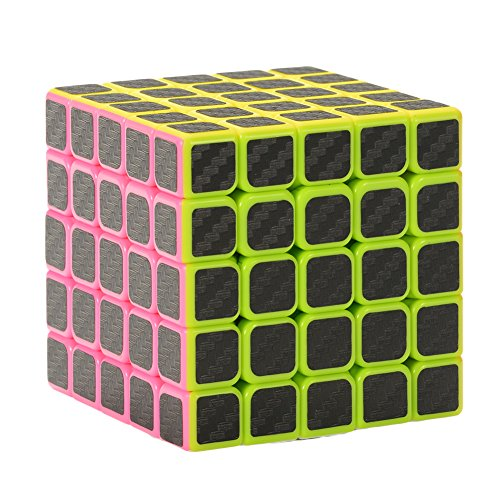 Twister.CK 5x5 Speed Cube Magic Cube Brain Teaser Puzzles with Carbon Fiber Sticker