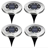 XDX 4Packs 8LED Solar Power Disk Lights Under Ground Lawn Lamp Outdoor Garden