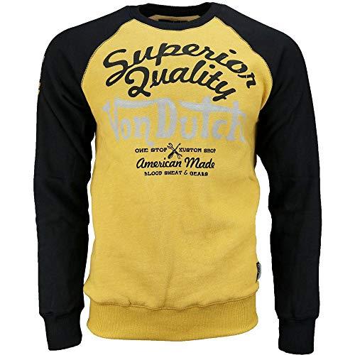 Dutch Long Sleeve - Von Dutch Mens Fleece Long Sleeve Tee Casual T-Shirt Yellow XXL