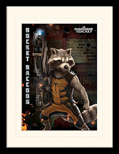 iPosters Guardians Of The Galaxy Rocket Raccoon Framed & Mounted Print - Overall Size: 36 x 46 cm (14 x 18 inches) Mount Size: 30 x 40 cm (Raccoon Framed)