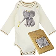 Dordor & Gorgor 100% Organic Cotton Long Sleeve Unisex Baby Onesie w/Plant Dye Imprints (6M, Elephnat and Duck)