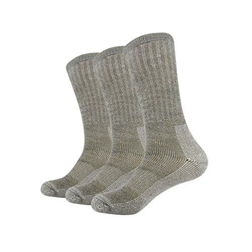 Vihir Men's Thermal 80% Merino Wool Hiking Calf Tube Socks, 3 Pack, Army ()