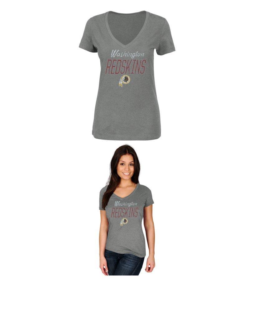 NFLワシントンレッドスキンズレディースWinning Ranks半袖VネックTシャツ、Large、グレーヘザー   B01ESVQX3O
