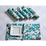 Floral Cotton Dinner Napkins - 20 inch x 20 inch - Set of 4 Premium Table Linens for the Dining Room - Turquoise, Gray and White Rose