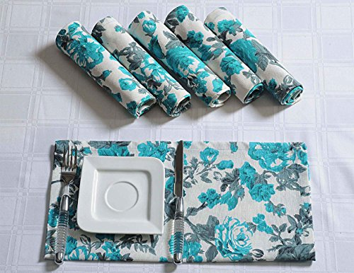 Floral Cotton Napkins Set For Horde Ouveres - 13'' x 13'' - Set of 100 Premium Table Linens - Turquoise, Gray and White Rose by ShalinIndia