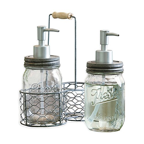 Soap Lotion Caddy (Mud Pie Fresh Jar Soap Pump Caddy, Silver)
