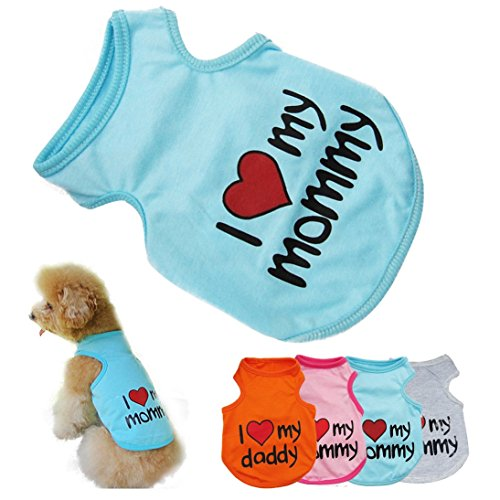 HP95(TM) 2015 Summer Cute Small Pet Dog Puppy Cat Clothes T-Shirts Vest Summer Apparel, I Love My Mommy (SkyBlue, S)
