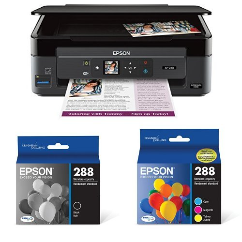 Epson Expression Home XP-340 Wireless Color Photo Printer with Scanner and Copier with Ultra Black Cartridge Ink and Ultra Color Combo Pack Cartridge Ink
