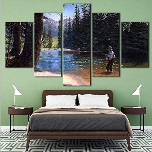 Jason Ming 家の装飾写真リビングルーム現代5パネル森林風景壁アートワークHdプリントポスター水彩画フレーム
