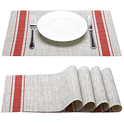 Placemat, Fashion European Style PVC Placemat Non-slip Insulation Placemat Washable Table Mats Set of 6 (Red) - NO DISTORTION: The placemats wearable and good heat resistance Fahrenheit 183 ℉ Applicable to water wash and fast drying without wait. PERFECT HOME THEME:A big feast is prepared and enjoyed by family and friends. the delicious cakes and pastries,Sandwiches,Chocolate and ice-cream Desserts and Pudding was set on the table. WHOLESOME:So all kinds of textiles people daily used are appropriate places to the reproduction and spread of bacterial.Than linen mat cleaning frequency and the cleaning water usage are reduced,bacteria amount decreased obviously. - placemats, kitchen-dining-room-table-linens, kitchen-dining-room - 51qRBgJx0yL. SS400  -