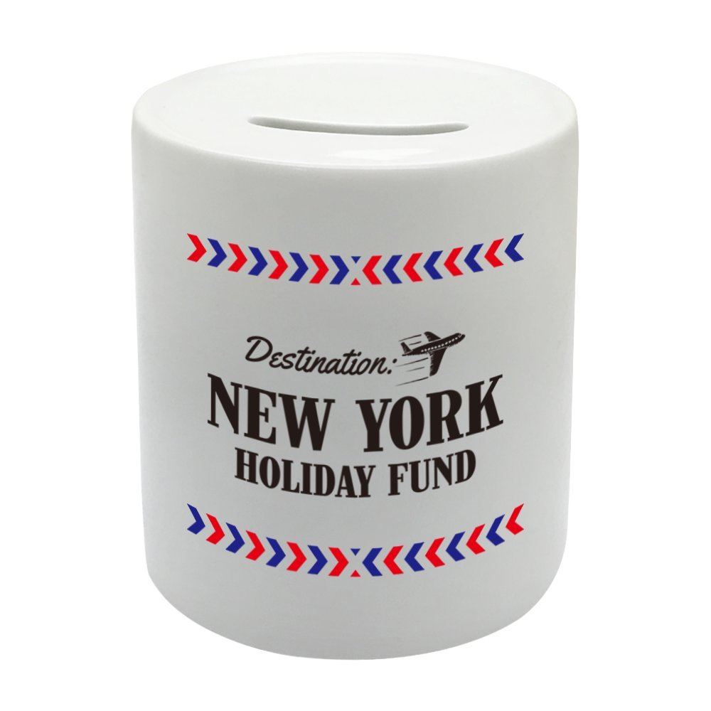 Coralgraph Inc BS022 NEW YORK HOLIDAY FUND Novelty Gift Printed Ceramic Piggy Bank Money Saving Box