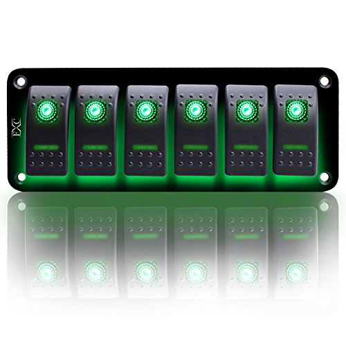 FXC Rocker Switch Aluminum Panel 6 Gang Toggle Switches Dash 5 Pin ON/OFF 2 LED Backlit for Boat Car Marine Green ()