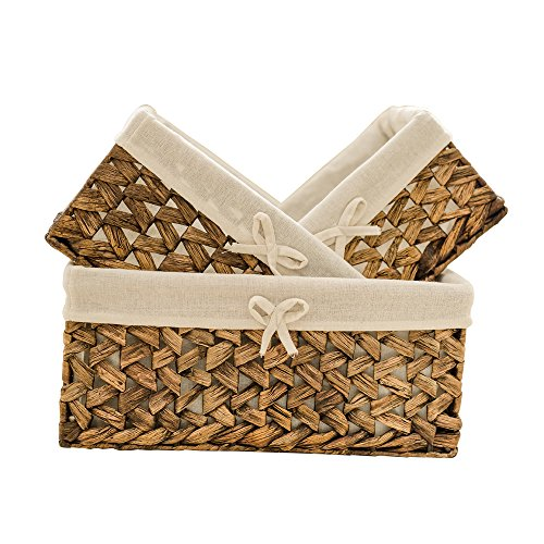 (KINGWILLOW Rectangular Woven Seagrass Storage Bins with Handle, (Water Hyacinth, Set of 3))