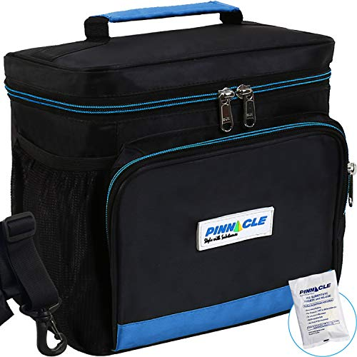 (LUNCH BAG for Men, Women - Pinnacle Insulated Lunch Bag Lunch Box for Adult, Work Large Cooler Tote Bag + BONUS GEL ICE PACK - Double Zipper, Adjustable strap - Blue)