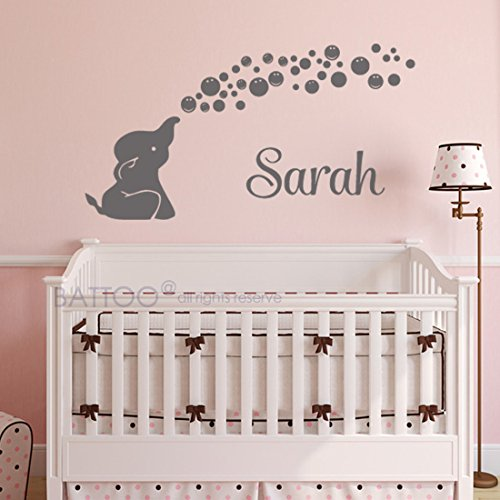 BATTOO Elephant Name Wall Decal - Personalized Name Wall Decal - Bubbles Wall Decal - Nursery Wall Decal - Baby Name Nursery Vinyl Wall -
