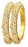 Sanara Indian Style Gold Plated Pearl Studded Bracelets Bangle Set Wedding Jewelry For Women