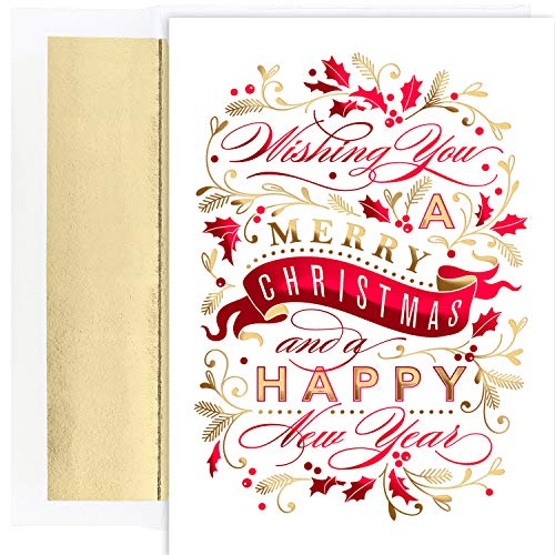 Masterpiece Studios Holiday Collection 16 Cards / 16 Foil Lined Envelopes, Christmas Banner