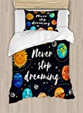 MAIANNE Quote Duvet Cover, Outer Space Planets Star Cluster Solar System Moon Comets Sun Cosmos Illustration, Decorative 4 Piece Bedding Set 2 Pillowcases, Multi