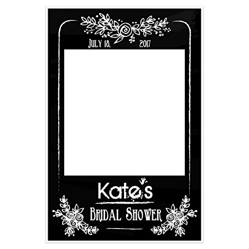 Black and White Chalk Bridal Shower Selfie Frame Social Media Photo Booth Prop Party ()