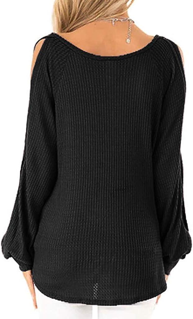 WUAI-Women Cold Shoulder Batwing Long Sleeve Loose Stretch Tops Tunic Blouse Shirt