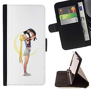 Momo Phone Case / Flip Funda de Cuero Case Cover - Niña Gata;;;;;;;; - Samsung Galaxy Note 4 IV