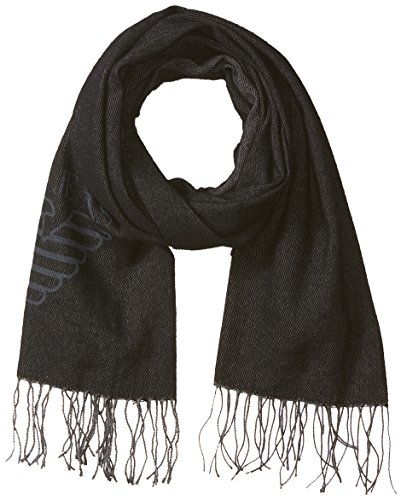 Armani Jeans Men's Knit Wool Blend Scarf With Large Eagle Logo, black, ONE SIZE (Scarf Logo Wool)