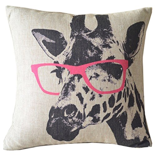 Ambox Beige Cotton Blend Linen Square Decorative Throw Pillow Covers - Indoors or Outdoors Cushion Cases, 18' x 18', Beige/White/Black (Cartoon Animal Style Giraffe Pink Glasses)