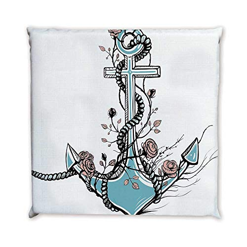(Anchor Comfortable Square Chair Pad,Romantic Boho Design Sketch of an Old Anchor with Roses Black Ink Style Decorative for Bedroom Living Room,17.7