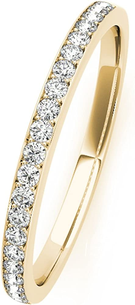 1//4 Carat JewelMore 14k Gold Wedding Diamond Band Ring