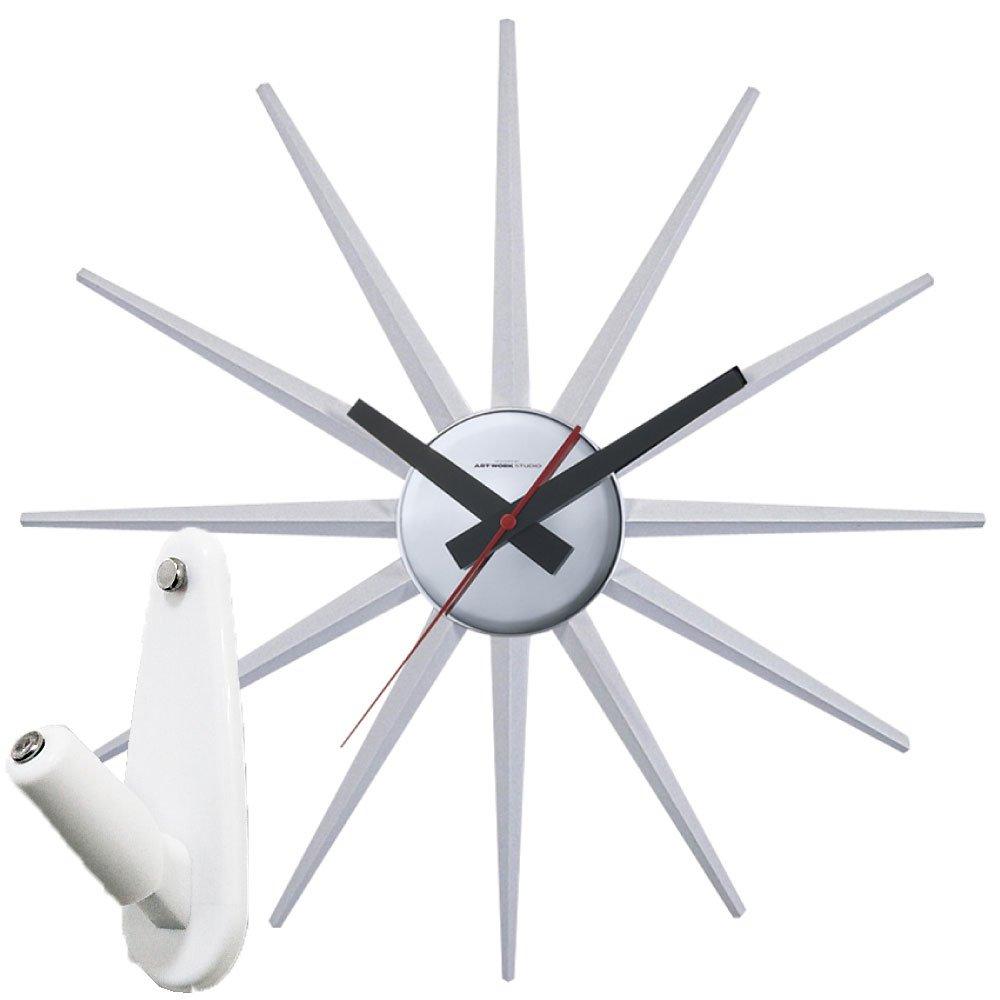 アートワークスタジオ Atras2-clock + 壁の穴が目立ちにくい時計用壁掛けフック 2点セット 掛け時計 掛時計 壁掛け時計 壁掛時計 フック おしゃれ アトラス2 ARTWORK STUDIO (ホワイト) B0763LMZ36 ホワイト ホワイト