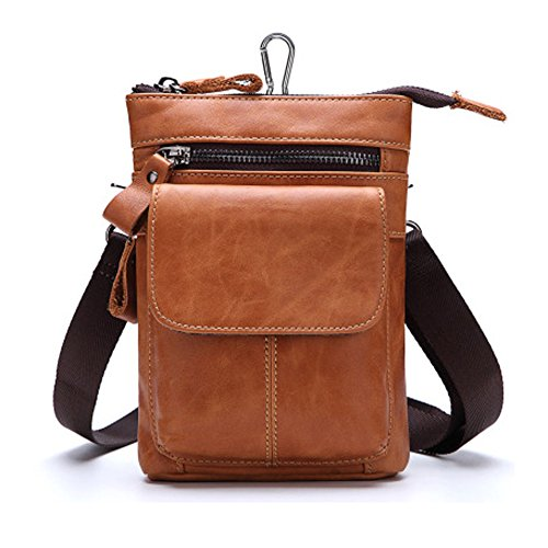 WEYUN Men Genuine Leather Small Hook Fanny Waist Bag Hip Bum Pack Cigarette Pouch,Shoulder Bag,Messenger (Cellular Innovations Cigarette Lighter)