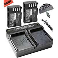 BM Premium 2-Pack of DMW-BLF19, DMW-BLF19e, DMW-BLF19PP Batteries and Dual Battery Charger for Panasonic Lumix DC-G9 , DC-GH5, DMC-GH3, DMC-GH3K, DMC-GH4, DMC-GH4K Digital Camera
