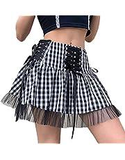 Yumeng Vrouwen Kant Hoge Taille Mini Geplooide Rokken Lace Up Ruffle Korte Rokken Harajuku Goth Rok - multi - XL
